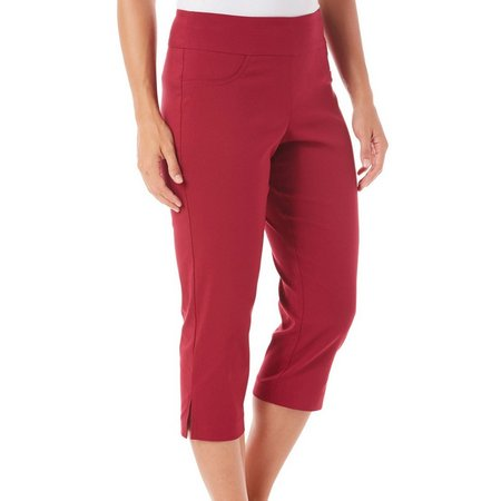 Hearts of Palm Petite Solid Faux Pockets Capris
