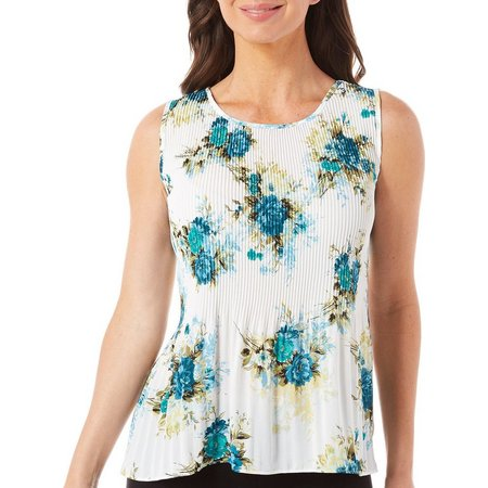 Nue Options Petite Baracoa Floral Pleated Tank Top