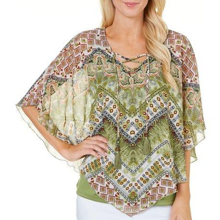 Sara Michelle Petite Lace Up Print Poncho Top