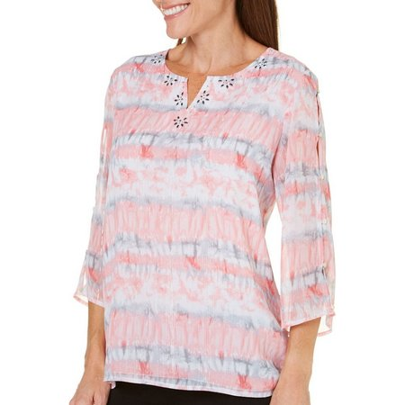 Alfred Dunner Petite Rose Hill Button Sleeve Top
