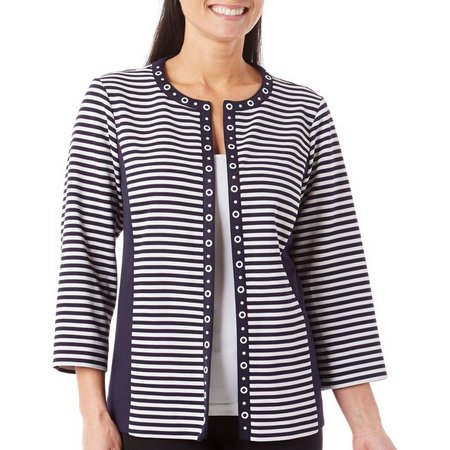 Alfred Dunner Petite Seas The Day Stripe Jacket