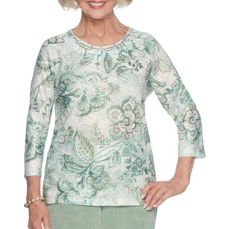 Alfred Dunner Petite Monotone Floral Print Top