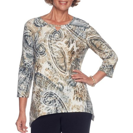 Alfred Dunner Petite Paisley Spangle Keyhole Top