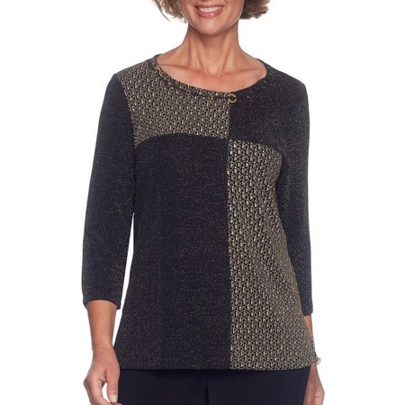 Alfred Dunner Petite Patch Shimmer Tunic Top