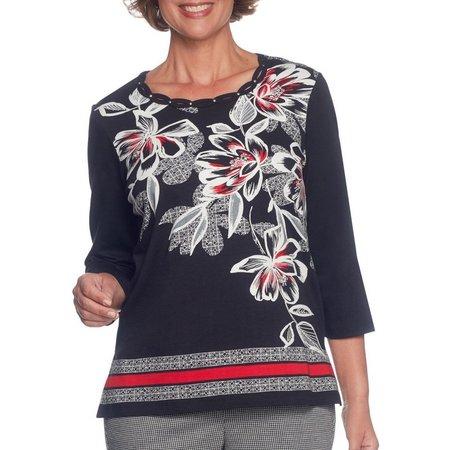 Alfred Dunner Petite Embellished Bloom Sweater
