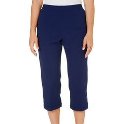 Alfred Dunner Petite Cable Beach Solid Capris