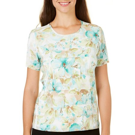 Alfred Dunner Petite Ladies Who Lunch Ruffle Top