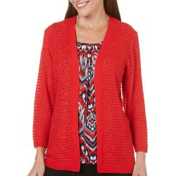 Alfred Dunner Petite Uptown Girl Solid Cardigan