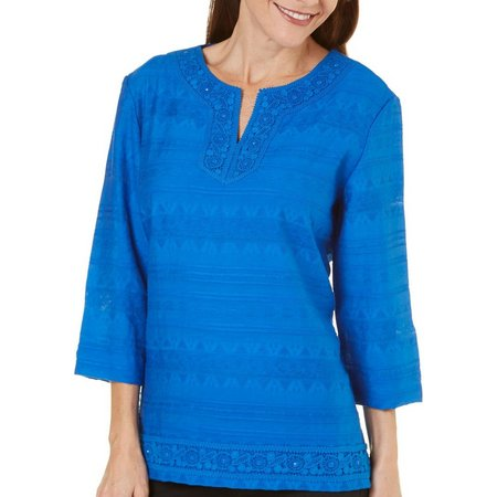 Alfred Dunner Petite Corsica Lace Trim Tunic Top
