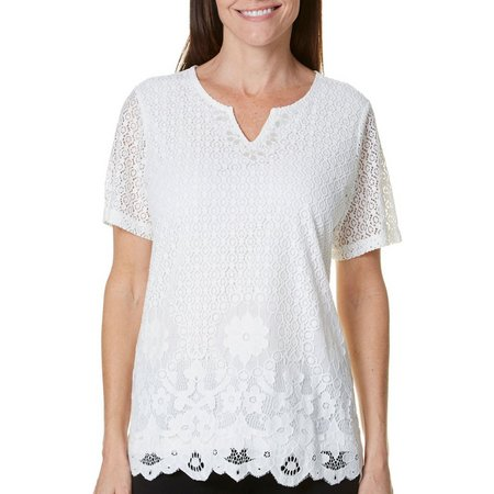 Alfred Dunner Petite Botanical Gardens Lace Top