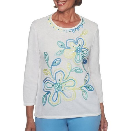 Alfred Dunner Petite Bonita Springs Embroidered Floral Top