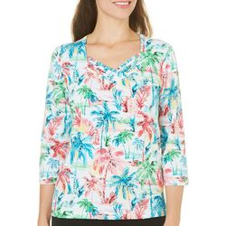 Alfred Dunner Petite Tropical Vibe Palm Print Top