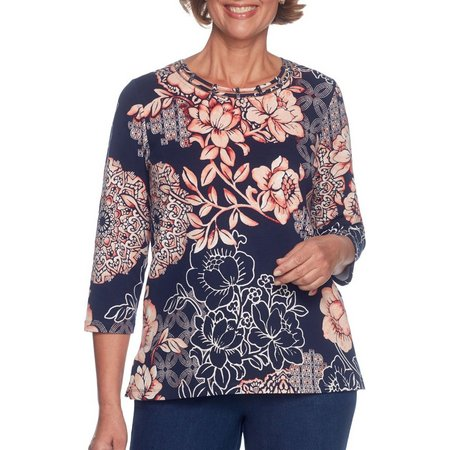 Alfred Dunner Petite Floral Print Lattice Neck Top