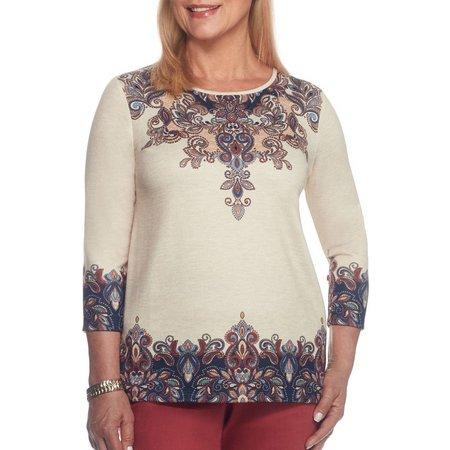 Alfred Dunner Petite Border Paisley Print Sweater