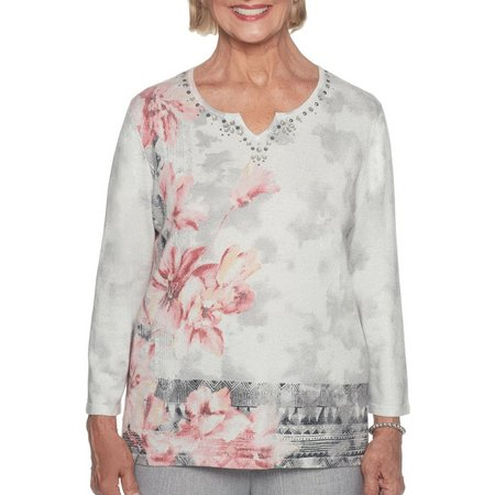 Alfred Dunner Petite Northern Lights Asymmetrical Floral Top