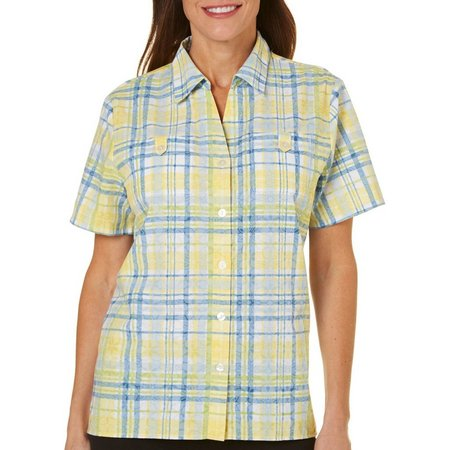 Alfred Dunner Petite Blue Lagoon Plaid Burnout Top