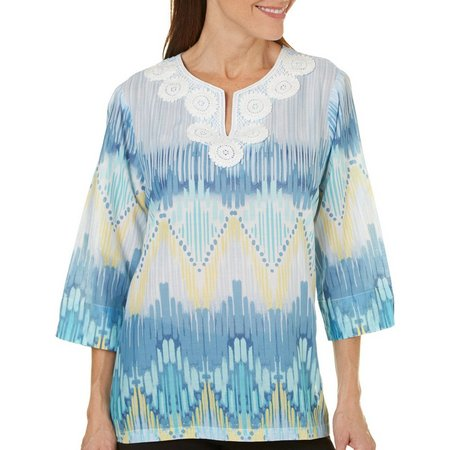 Alfred Dunner Petite Blue Lagoon Ikat Biadere Top