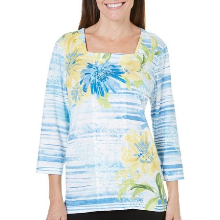 Alfred Dunner Petite Blue Lagoon Floral Top