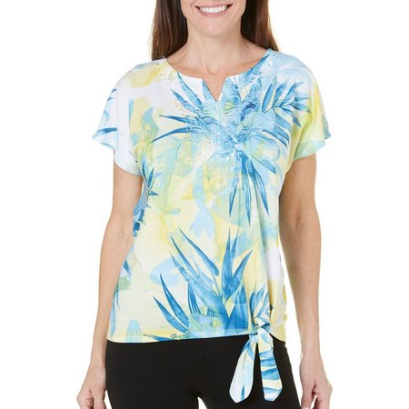 New! Alfred Dunner Petite Blue Lagoon Palm Print