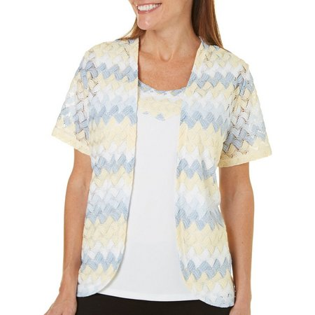 New! Alfred Dunner Petite Blue Lagoon Chevron Cardigan