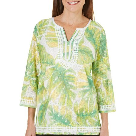 Alfred Dunner Petite Bahama Bays Textured Leaf Top