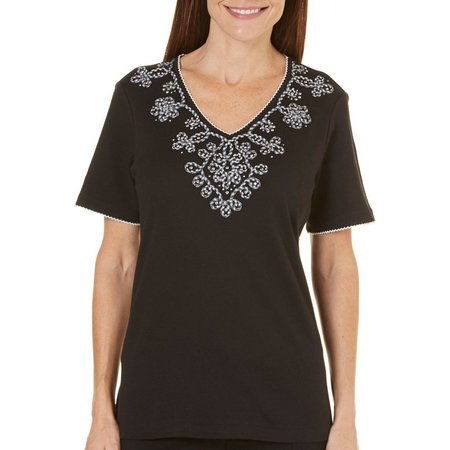 Alfred Dunner Petite Garden Party Embroidered Top