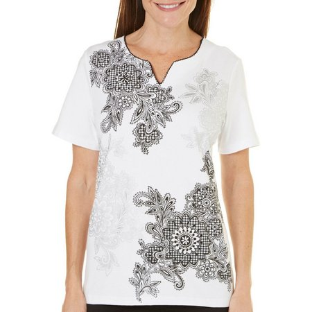 Alfred Dunner Petite Garden Party Scroll Top