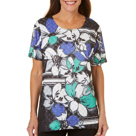 Alfred Dunner Petite Stripe Floral Printed Top