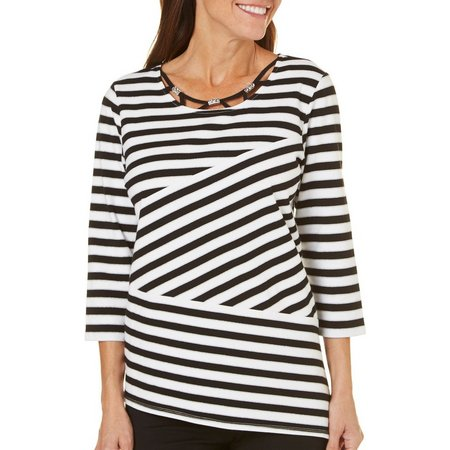 Alfred Dunner Petite Stripe Slice Top