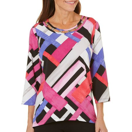 Alfred Dunner Petite Geometric Color Block Top