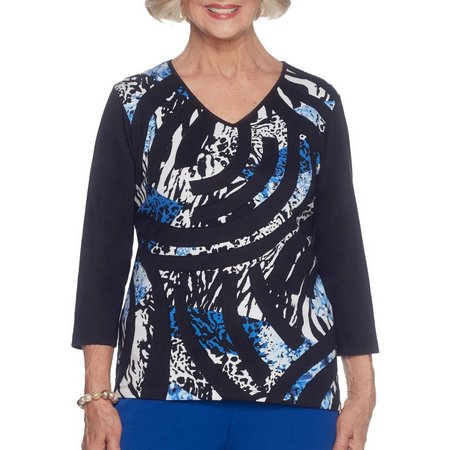 Alfred Dunner Petite High Roller Patchwork Print Top