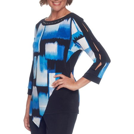 Alfred Dunner Petite High Roller Box Print Top