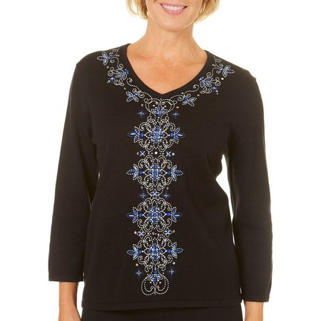 Alfred Dunner Petite High Roller Beaded Sweater