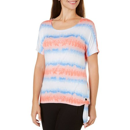 Cathy Daniels Womens Ombre Stripe Side Tie Top