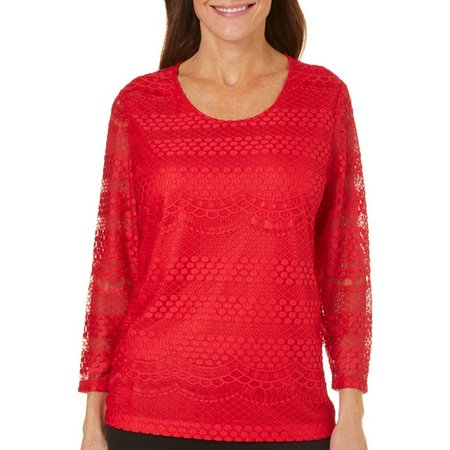 Cathy Daniels Womens Three Quarter Sleeve Lace Top