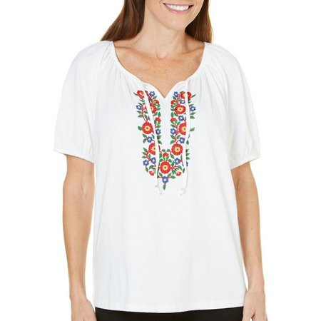 Cathy Daniels Womens Embroidered Peasent Top