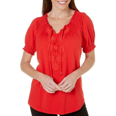 Cathy Daniels Womens Embroidered Top