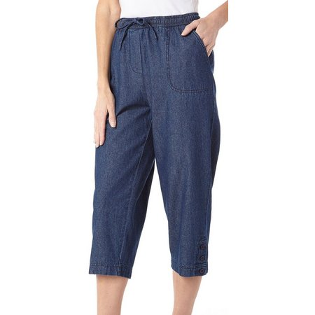 Cathy Daniels Womens Solid Pull-On Denim Capris