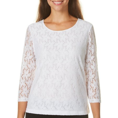 Cathy Daniels Womens Floral Lace Top