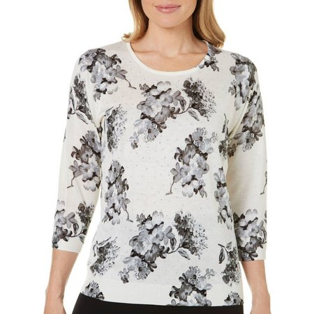 Cathy Daniels Womens Floral Print Sweater