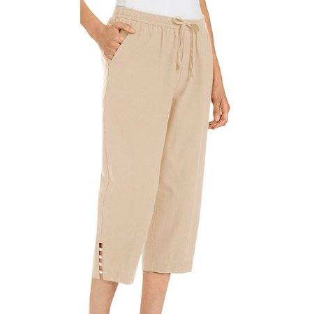 Cathy Daniels Womens Metal Accented Side Hem Capris