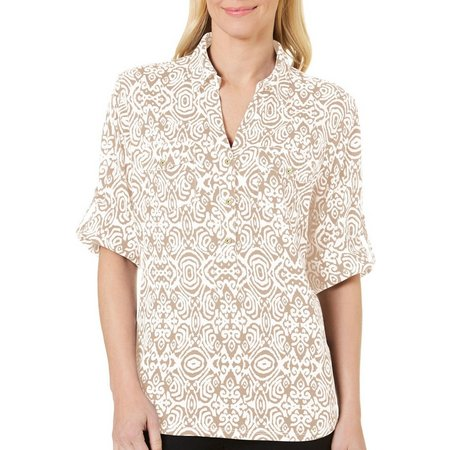 Cathy Daniels Womens Printed Roll Tab Sleeves Top