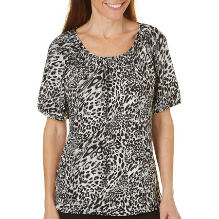 Cathy Daniels Womens Leopard Print Top