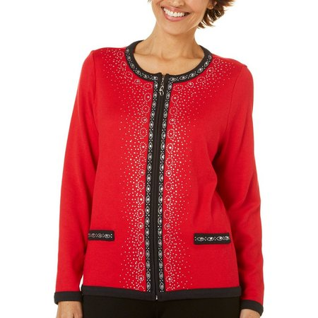 Cathy Daniels Petite Embellished Panel Zippered Sweater