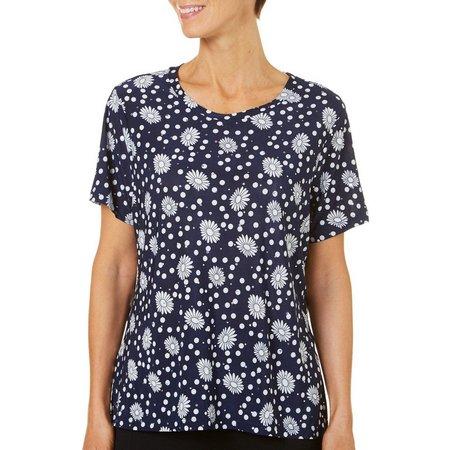 Cathy Daniels Petite Dots & Floral Print Top