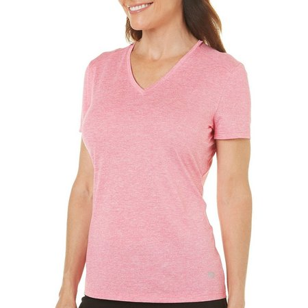 Reel Legends Petite Freeline Solid V-Neck Short Sleeve