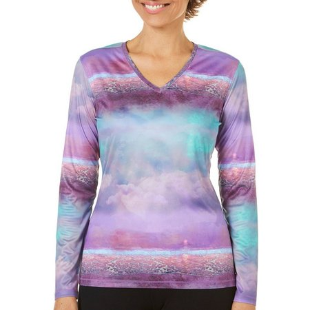 Reel Legends Petite Reel-Tec Serenity Stripe Print Top