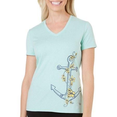 Reel Legends Petite Floral Anchor Graphic T-Shirt