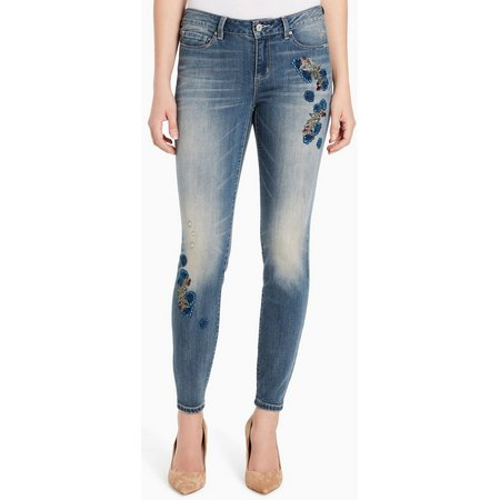 Vintage America Womens Embroidered Crop Jeans