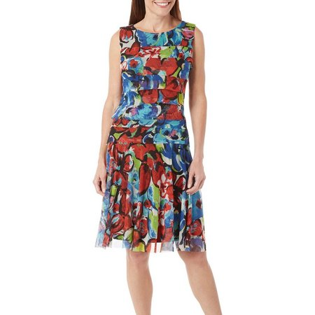 ILE NY Womens Tiered Floral Dress